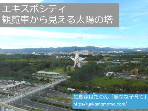 エキスポシティの観覧車から見える太陽の塔と高速道路
