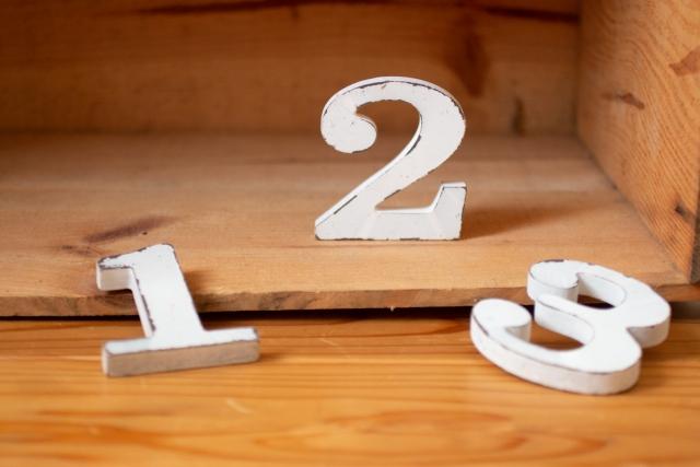 数字1,2,3の板